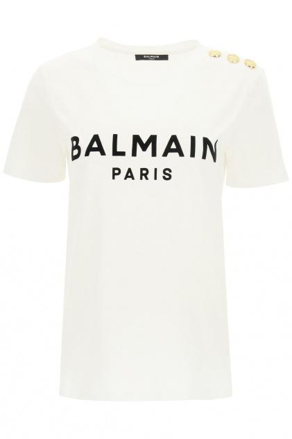 BALMAIN T-SHIRT STAMPA LOGO FLOCK_1