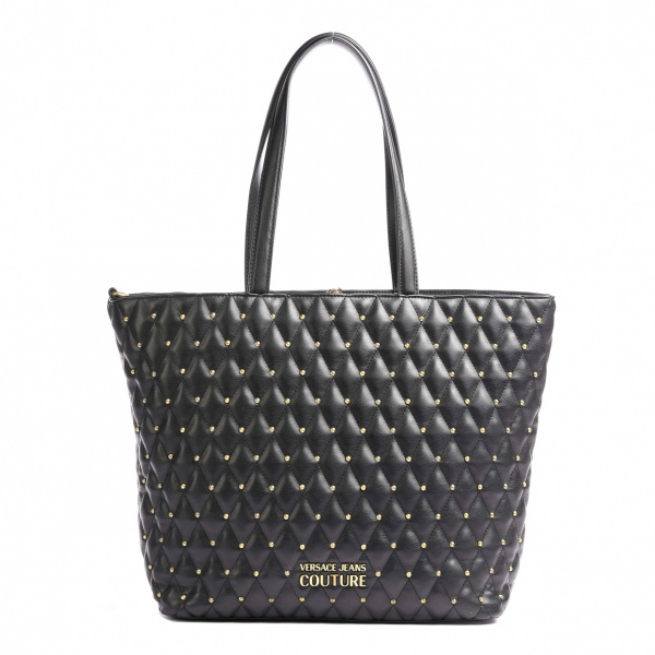 SHOPPER QUILTED NAPPA PU TRAPUNTATA BORCHIE NERA – VERSACE JEANS COUTURE