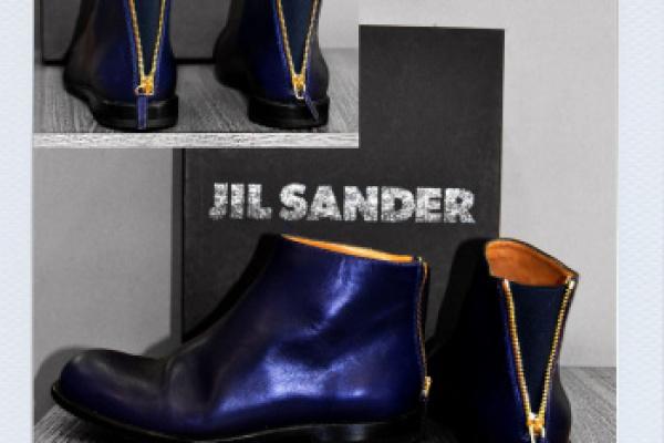 JIL SANDER: modifica di queste splendide calzature aggiungendo fisso un elastico sul tallone mantenendo la cerniera… esteticamente un capolavoro!